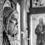 лик деревянной иконы святого