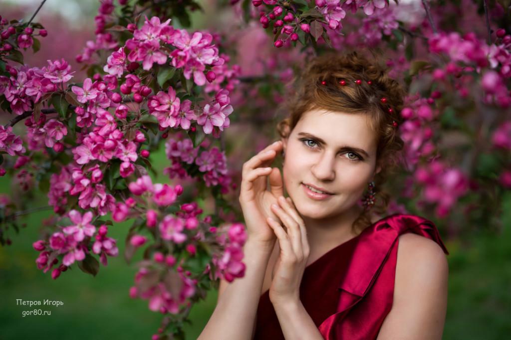 кристина лунева, фотосессия, вишня, коломенское, цветущие сады
