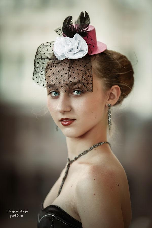 портрет, девушка, подросток, шляпка, вуаль, фотосессия, стиляги, девочка, ретро