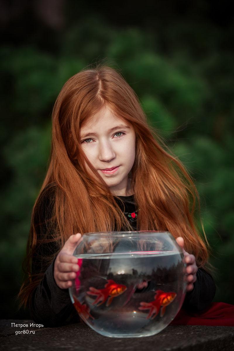 девочка, фотосессия, рыбки, аквариум