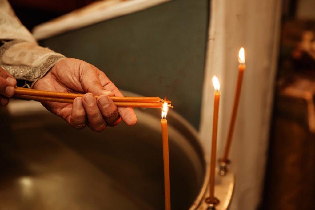 свечи на купели, крещение